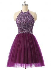 Romantic Halter Top Sleeveless Evening Dress Mini Length Beading and Sequins Dark Purple Tulle