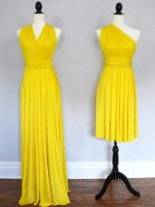 Chic Yellow Halter Top Neckline Ruching Wedding Guest Dresses Sleeveless Lace Up