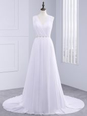 Delicate Belt Wedding Gown White Backless Sleeveless Brush Train