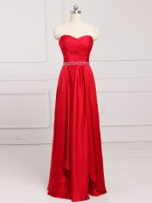 Red Sleeveless Beading and Belt Floor Length Dama Dress for Quinceanera