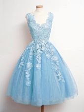 Flirting Sleeveless Knee Length Lace Lace Up Wedding Guest Dresses with Baby Blue
