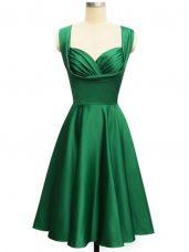 Green Taffeta Lace Up Wedding Guest Dresses Sleeveless Knee Length Ruching