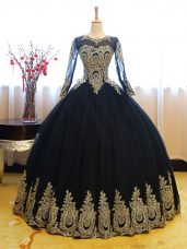 Navy Blue Ball Gowns Organza Scoop Long Sleeves Appliques Floor Length Lace Up 15th Birthday Dress