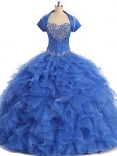 Custom Designed Blue Ball Gowns Beading and Ruffles Sweet 16 Quinceanera Dress Lace Up Organza Sleeveless Floor Length