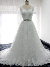 Fancy White Sleeveless Beading and Lace Clasp Handle Wedding Dresses