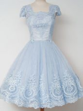 Hot Sale A-line Dama Dress for Quinceanera Light Blue Square Tulle Cap Sleeves Knee Length Zipper