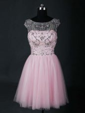 Charming Short Sleeves Tulle Mini Length Lace Up Prom Dress in Baby Pink with Beading