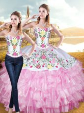 Stylish Rose Pink Sleeveless Floor Length Embroidery and Ruffled Layers Lace Up Sweet 16 Quinceanera Dress