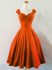 Rust Red Sleeveless Taffeta Lace Up Bridesmaid Dresses for Prom and Party and Wedding Party