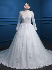 Designer White Zipper Wedding Gown Lace and Appliques Long Sleeves Court Train