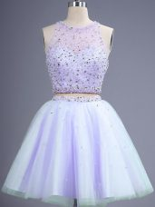 Lavender Two Pieces Tulle Scoop Sleeveless Beading Knee Length Lace Up Dama Dress