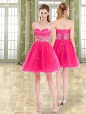 Graceful Tulle Sweetheart Sleeveless Lace Up Beading and Ruffles Party Dresses in Hot Pink
