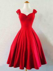 Custom Designed Straps Sleeveless Taffeta Bridesmaid Gown Ruching Lace Up