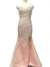 Peach Sleeveless Tulle Sweep Train Zipper Juniors Evening Dress for Prom and Party and Military Ball and Sweet 16