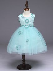 Fantastic Tulle Scoop Sleeveless Zipper Appliques and Bowknot Flower Girl Dresses in Apple Green