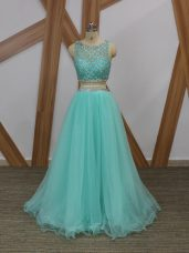 Two Pieces Prom Dresses Apple Green Scoop Tulle Sleeveless Floor Length Side Zipper