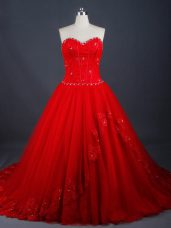 Enchanting Red Lace Up Wedding Dresses Appliques Sleeveless Brush Train