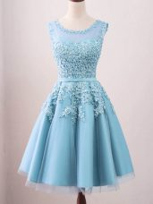 Elegant Aqua Blue A-line Scoop Sleeveless Tulle Knee Length Zipper Lace Quinceanera Dama Dress