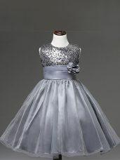Sleeveless Sequins and Hand Made Flower Zipper Flower Girl Dresses for Less