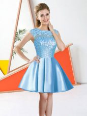 Custom Fit Aqua Blue Taffeta Backless Bridesmaids Dress Sleeveless Knee Length Beading and Lace