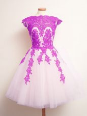 Scalloped Sleeveless Lace Up Quinceanera Court of Honor Dress Multi-color Tulle