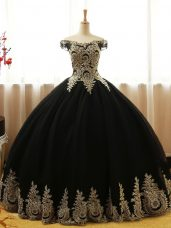 Ideal Black Lace Up Off The Shoulder Appliques Sweet 16 Dresses Tulle Sleeveless