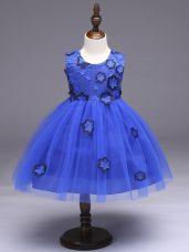 On Sale Ball Gowns Flower Girl Dress Royal Blue Scoop Tulle Sleeveless Knee Length Zipper