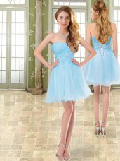 New Style Baby Blue Cocktail Dresses Prom and Party with Beading Sweetheart Sleeveless Lace Up