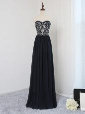 Floor Length Empire Sleeveless Black Prom Gown Zipper