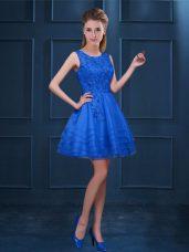 Knee Length Blue Wedding Guest Dresses Scoop Sleeveless Zipper