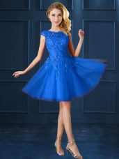 Flare Knee Length A-line Cap Sleeves Blue Bridesmaid Gown Lace Up