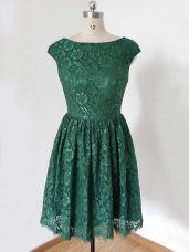 Graceful Dark Green Scoop Lace Up Lace Bridesmaid Dresses Cap Sleeves