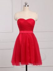 Red Bridesmaid Dress Prom and Party and Wedding Party with Ruching Sweetheart Sleeveless Zipper
