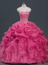 Comfortable Hot Pink Sleeveless Floor Length Beading and Ruffles and Pick Ups Lace Up Quinceanera Dress