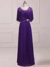 Luxurious Purple Empire Lace Scoop Sleeveless Beading and Appliques Floor Length Zipper Mother Dresses