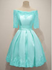 Aqua Blue Half Sleeves Knee Length Lace Lace Up Bridesmaids Dress