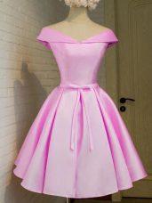 Artistic A-line Damas Dress Lilac Off The Shoulder Taffeta Cap Sleeves Knee Length Lace Up