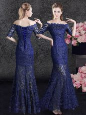 Delicate Mermaid Navy Blue Lace Lace Up Off The Shoulder Half Sleeves Floor Length Mother of Groom Dress Lace