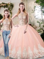 Scoop Sleeveless Quinceanera Gown Floor Length Beading and Lace and Appliques Peach Tulle