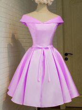 Knee Length Lace Up Bridesmaids Dress Lilac for Prom and Party and Wedding Party with Belt