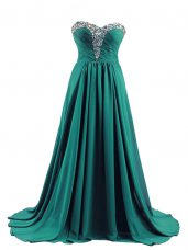 Popular Turquoise Sweetheart Lace Up Beading Evening Dress Brush Train Sleeveless