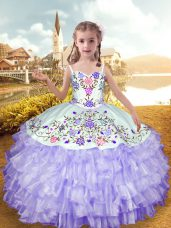 Gorgeous Straps Sleeveless Lace Up Little Girls Pageant Gowns Lavender Organza and Taffeta