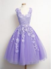 Perfect Lavender V-neck Neckline Appliques Bridesmaid Gown Sleeveless Lace Up