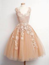 Glorious V-neck Sleeveless Tulle Bridesmaid Dresses Lace Lace Up