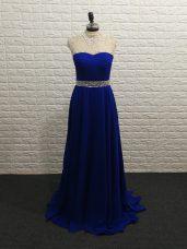 Luxurious Royal Blue Sleeveless Beading Zipper Celebrity Evening Dresses