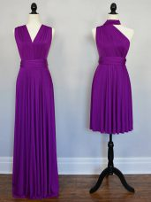 Best Selling Purple Chiffon Lace Up Quinceanera Court Dresses Sleeveless Floor Length Beading and Ruching