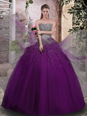 Strapless Sleeveless Tulle Sweet 16 Quinceanera Dress Beading Lace Up