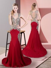 Fantastic Wine Red Sleeveless Beading Side Zipper Prom Gown