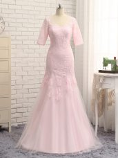 Baby Pink Half Sleeves Floor Length Lace and Appliques Zipper Mother Dresses