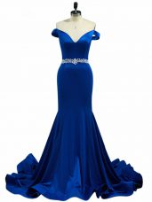 Royal Blue Prom Gown Off The Shoulder Sleeveless Brush Train Zipper